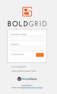 Log into BoldGrid